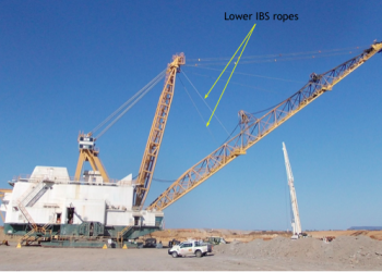 A dragline engineered with lower IBS ropes.